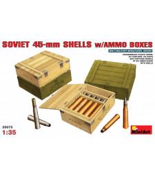 1:35 Съветски 45-милиметрови снаряди с кутии за амуниции