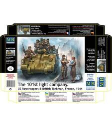 1:35 Американски парашутисти и Британски танкист - 9 фигури (The 101st light company. US Paratroopers & British Tankman, France, 1944  - 9 figures)