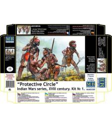 """1:35 """"Отбранителен кръг"""" серия индиянски войни - 4 фигури (Protective Circle. Indian Wars series, XVIII century. Kit No. 1  - 4 figures)"""
