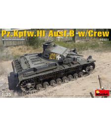 1:35 Германски танк Panzerkampfwagen 3 Ausf.B с екипаж- 5 фигури