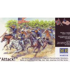 1:35 8-ма кавалерия на Пенсилвания, 89-и полк, Пенсилвански опълченци, битка при Чансълърсвил, 2 май 1863 г. Серия Американска гражданска война. Атака! - 3 фигури