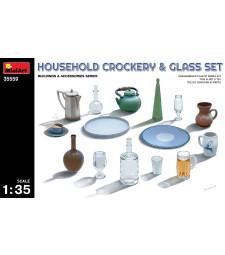 1:35 Комплект от домашни глинени и стъклени съдове