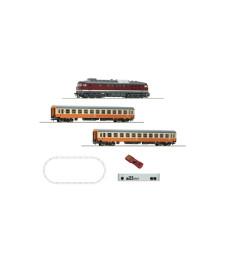 Дигитален стартов комплект дизелов локомотив клас 132 и 2 пътнически вагона, централа z21, DR, епоха IV