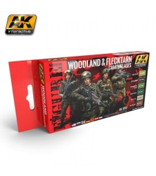 AK-3250 WOODLAND AND FLECKTARN MODERN CAMOUFLAGES - Комплект бои за фигури (6 x 17 ml)