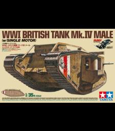 1:35 Британски танк от Първата световна война Mk.IV Male (WWI British Tank Mk.IV Male - w/Single Motor/British Figures) - 5 фигури - подвижен модел с механичен мотор
