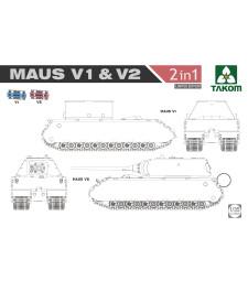 1:35 Германски танк Маус V1 и V2 2 в 1 от Втората световна война, ограничено издание (WWII  Maus V1 & V2  2 in 1, Limited Edition)