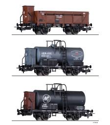 Сет от 3 товарни вагона на БДЖ, JDZ и CSD, епоха II