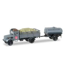 """1:87 Opel 3000 truck with loading and tank Trailer """"Fernmeldekompanie JG 1"""""""