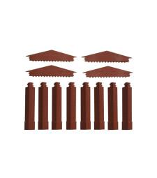 Малки фронтони и къси ъглови колони в червено