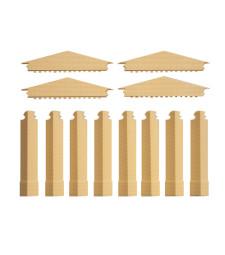 Малки фронтони и къси ъглови колони в жълто