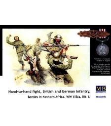 1:35 Схватка, британска и немска пехота. Битки в Северна Африка. Комплект 1 - 5 фигури