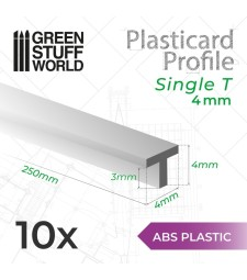 ABS пластмасов T-профил 4 мм