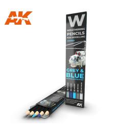 AK10043 WATERCOLOR PENCIL SET GREY AND BLUE - Комплект състаряващи моливи (5 броя)