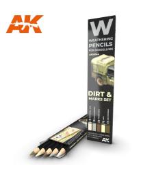 AK10044 WATERCOLOR PENCIL SET SPLASHES, DIRT AND MARKS - Комплект състаряващи моливи (5 броя)