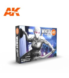 AK11609 WHITE COLORS SET - (6 x 17 ml) - Акрилни бои от ново поколение