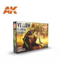 AK11615 YELLOW ESSENTIAL COLORS - (6 x 17 ml) - Акрилни бои от ново поколение