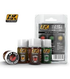 AK-264 CLEAR COLORS SET 1 (RED-GREEN-ORANGE) - Комплект от прозрачни бои (3 x 35 ml)