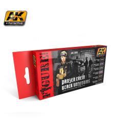 AK3001 PANZER CREW BLACK UNIFORMS - Комплект бои за фигури (6 x 17 ml)