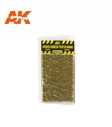 AK8119 Смесени зелени туфи  (6 mm) - Текстура за диорама