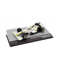 2009 Brawn BGP 001 Brawn-GP #23 Rubens Barrichello 2nd Place Australia GP F1, White/Yellow/Blue