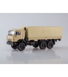KAMAZ-43118 6x6 Flatbed Truck with Tent - beige