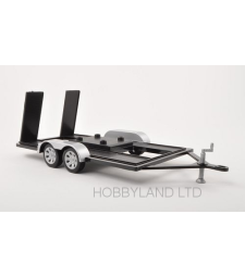 Die-cast Trailer for 1:18 models, black / silver, with crank support