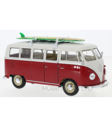 VW T1 Bus, red / white, with roof rack and surfboard, 1963