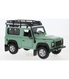 Land Rover Defender, light green / white, with roof rack