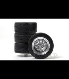 Комплект гуми - 4 броя стоманени тесни джанти, сребро