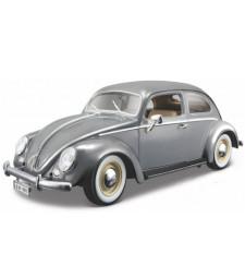 VW Beetle, gray, oval window, 1955