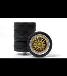 Комплект гуми - 4 броя алуминиеви джанти, (2 х тесни, 2 x широки), сребро/злато, 1993