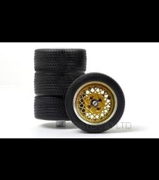 Комплект гуми - 4 броя алуминиеви джанти , злато/сребро, 1977