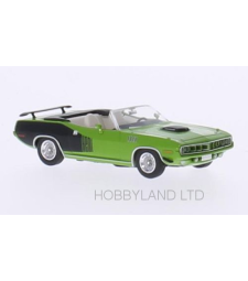 Plymouth HEMI Cuda Convertible, green / decor, 1971, soft top opened