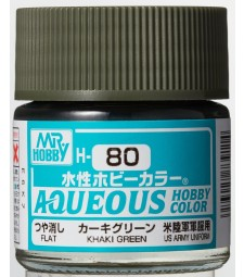 H-080 Flat Khaki Green (10ml) - Mr. Color for Tank Models, USA, WWII