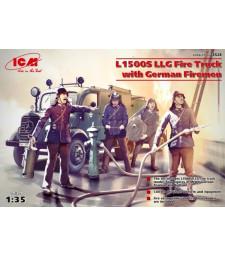 1:35 Германски противопожарен камион Мерцедес Л1500С ЛЛГ (Mercedes L1500S LLG) с пожарникари