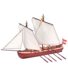 """1:50 Дълга високоскоростна лодка """"Сантисима Тринидад"""" - Модел на кораб от дърво"""