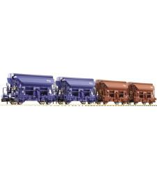 Сет от 4 саморазтоварващи си вагона за насипни товари, епоха IV (NS)