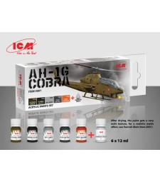 Комплект акрилни бои за AH-1G Cobra (ранно производство), US Attack Helicopter (6x 12ml)