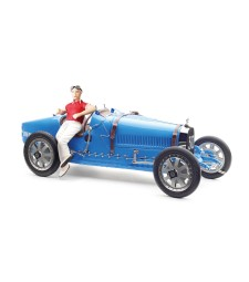 "Bugatti Type 35 Grand Prix, ""bright blue"" Livery with a Female Racer Figurine (M-100 B-018)"