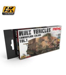 MC804 WWI VEHICLES CAMOUFLAGE COLORS VOL.1 - Комплект акрилни бои серия MENG (6 x 17 ml)