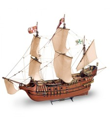 1:90 Свети Франциск II (2017) с метални фигури (San Francisco II with metal figures) - Модел на кораб от дърво