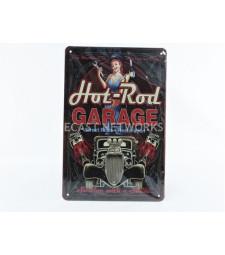 METAL PLATE - HOT ROD GARAGE - STREET STREET RODS RESTORATION (20 x 30 cm)