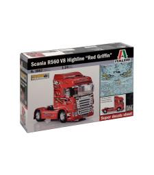 """1:24 Камион влекач Скания Р560 В8 Хайлайн """"Червен грифон"""" (SCANIA R560 V8 HIGHLINE """"RED GRIFFIN"""")"""