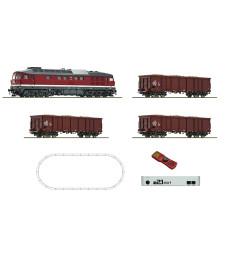 Дигитален стартов комплект дизелов локомотив клас 132 и товарен вагони, централа z21, DR, епоха IV