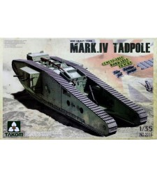 """1:35 Британски танк от Първата световна война Марк IV, """"мъжки"""" със задно оръдие (WWI Heavy Battle Tank Mark IV Male Tadpole w/Rear mortar)"""