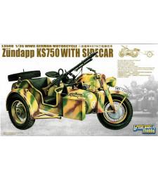 1:35 Германски военен мотоциклет с кош WWII German Zundapp KS 750 with Sidecar/w trailers