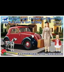 1:35 Италианска лека цивилна кола (твърд покрив) с дама, момиче и куче