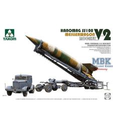 1:72 Германски транспортер за V-2 ракети Meillerwagenс влекач Hanomag SS100, Втора световна война (WWII German V-2 Rocket Transporter/Erector Meillerwagen+Hanomag SS100)