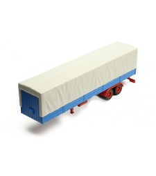 Auflieger flatbed platform trailer with cover, grey/blue