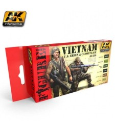 AK3200 VIETNAM U.S. GREEN & CAMOUFLAGE - Комплект бои за фигури (6 x 17 ml)